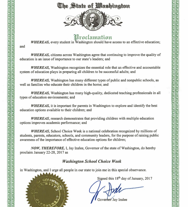 With WFIS' support, the Governor declares School Choice Week